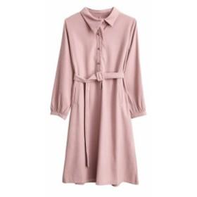 長いAラインのスカートと春の新しい女性の長袖ソリッドカラーのドレス