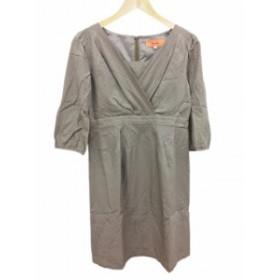 【中古】スーナウーナ Sunauna ワンピース ひざ丈 七分袖 絹 シルク 38 グレー /FH15 レディース