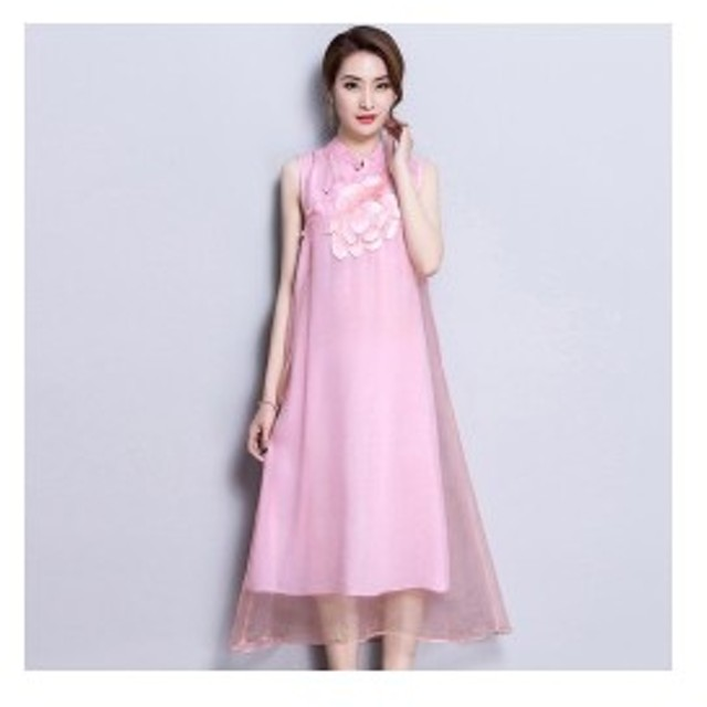 240506707a0 ファッション絶妙な刺繍女性のドレス2018新しい夏シンプルなヴィンテージスタンド襟ノースリーブ