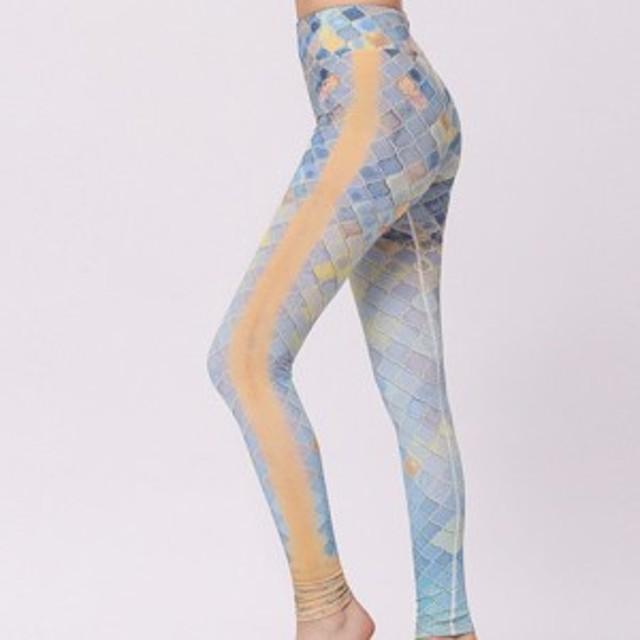 ファッション女性レギンスマーメイドプリントレギンスセクシーフィット高ウエスト弾性女性パンツ100%真新しい
