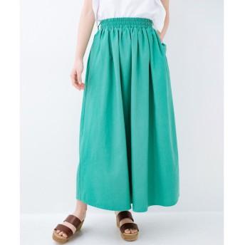 haco! 楽してスタイルが決まる 涼やか麻混スカート(グリーン)