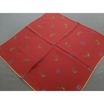 【中古】 グッチ GUCCI スカーフ 美品 ボルドー マルチ ミニサイズ