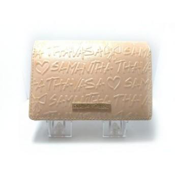 【中古】 サマンサタバサ Samantha Thavasa 2つ折り財布 ピンクベージュ 合皮