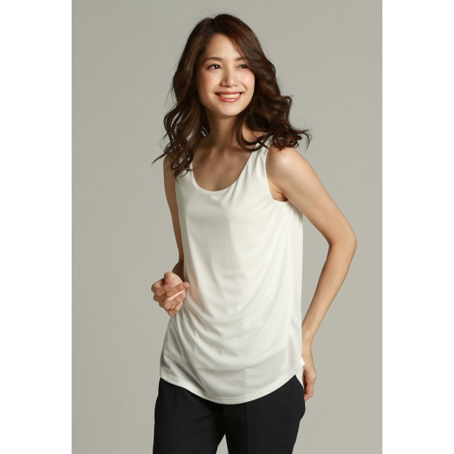 la.f. 【大きいサイズ】ラインスタースムースノースリーブインナー Tシャツ・カットソー,ホワイト