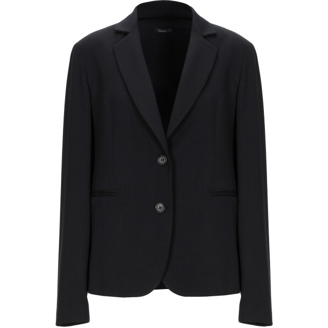 《セール開催中》HANITA レディース テーラードジャケット ブラック 46 ポリエステル 64% / レーヨン 33% / ポリウレタン 3%