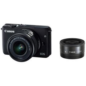 【中古】Canon製 ミラーレス一眼カメラ EOS M10 ダブルレンズキット ブラック 未使用