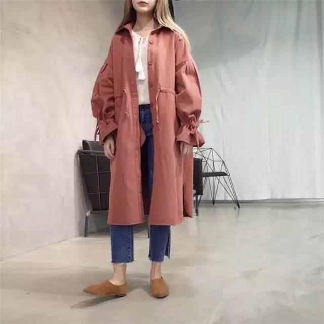 y190 ラブリートレンチコート おしゃれなシルエット 韓国ファッション カラー スプリングコート 春夏