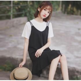 【2019年夏新作】限定プライス スリムサスペンダースカート サロペット スカート ロングスカート 可愛い サスペンダー Aラインスカート 韓国ファッション オールインワン