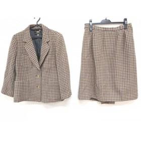 【中古】 レリアン Leilian スカートスーツ サイズ13+ S レディース ベージュ 黒 千鳥格子