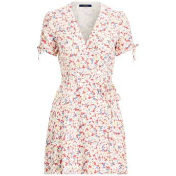 《セール開催中》POLO RALPH LAUREN レディース ミニワンピース&ドレス ホワイト 6 レーヨン 100% Floral Crepe Wrap Dress