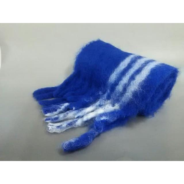 【中古】 ロエベ LOEWE マフラー 美品 ブルー ライトブルー ストライプ モヘヤ ウール ナイロン