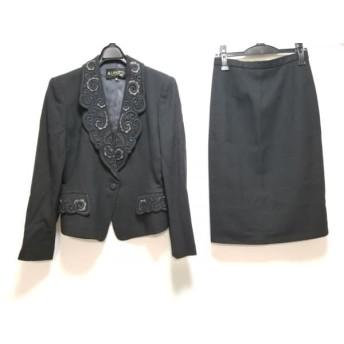 【中古】 ランチェッティ LANCETTI スカートスーツ サイズ42 L レディース 美品 黒 グレー 刺繍