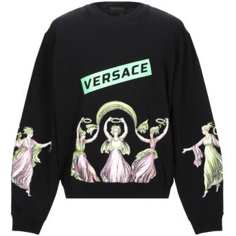 《9/20まで! 限定セール開催中》VERSACE メンズ スウェットシャツ ブラック XXL コットン 80% / ポリエステル 20% / ポリウレタン / ナイロン