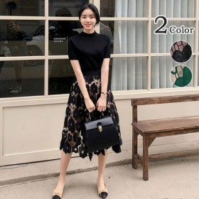 韓国ファッション レディース花柄 刺繍 フェミニン度アップスカート可愛い大きいサイズ