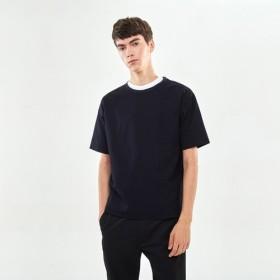 SeersuckerのラウンドネックTシャツ