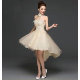 お呼ばれ 前短後長ドレス Formal dress パーティードレス フォーマル 韓国風 司会 年会 着痩せ 洋服 結婚式 二次会 キャバドレス
