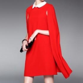 フードワンピース ゆったり ミディアム丈 スリットスリーブ 2色 襟付き パーティー 二次会 ドレス 無地 大きいサイズ