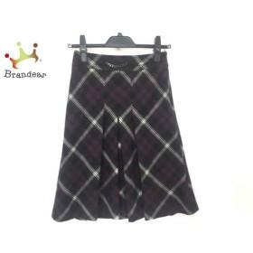 ニジュウサンク 23区 スカート サイズ30 XS レディース パープル×黒×白 チェック柄   スペシャル特価 20190813