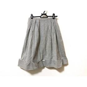 【中古】 フォクシーニューヨーク FOXEY NEW YORK スカート サイズ38 M レディース グレー 白 ストライプ