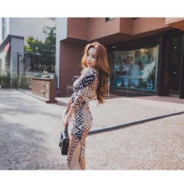 韓国ファッション Vネック スリムワンピース エレガント 通勤 長袖ワンピース ひざ丈ワンピ 幾何学模様 セクシー 大人可愛い