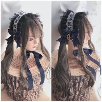 月夜のミッドナイトヘッドドレス 青×黒 ゴスロリ ロリータ