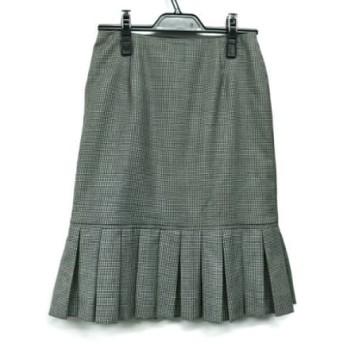 【中古】 バレンチノ VALENTINO スカート サイズ4 XL レディース アイボリー 黒 千鳥格子/フリル
