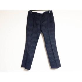 【中古】 ラウンジリザード LOUNGELIZARD パンツ サイズ2 M レディース 黒 グレー ストライプ
