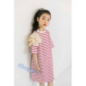 ワンピース 韓国風子供服 キッズ 半袖 ボーダーワンピース 可愛い 夏物 夏服 120 130 140 150 160