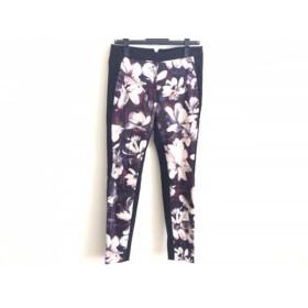 【中古】 ポールスミスブラック PaulSmith BLACK パンツ サイズ40 M レディース 美品 黒 白 マルチ 花柄
