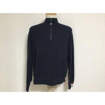 【中古】 ゼニア 長袖セーター サイズS メンズ ネイビー レッド グレー ヘンリーネック/ジップアップ