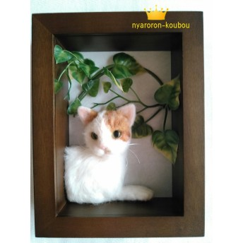 【羊毛フェルト】フレームからこっち見てる猫ちゃん