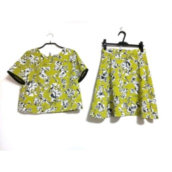 【中古】 ミッシェルクラン スカートセットアップ サイズ38 M レディース ライトグリーン 黒 白 花柄