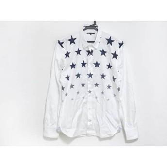 【中古】 ギルドプライム GUILD PRIME 長袖シャツ サイズ1 S メンズ 美品 白 ダークネイビー スター