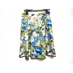 【中古】 エムズグレイシー スカート サイズ40 M レディース アイボリー ブラウン マルチ 花柄