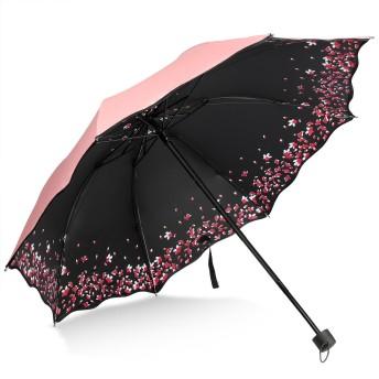 折り畳み傘桜の花びら携帯便利晴雨兼用紫外線防ぐ太陽傘 (ピンク)