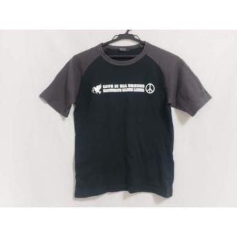 【中古】 バーバリーブラックレーベル 半袖Tシャツ サイズ1 S メンズ 黒 ダークブラウン 白