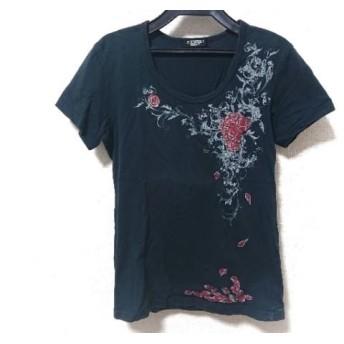【中古】 トルネードマート 半袖Tシャツ サイズM メンズ ネイビー ライトグレー レッド 花柄