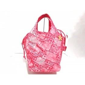 【中古】 キプリング Kipling ハンドバッグ 美品 ピンク レッド シルバー 刺繍 ナイロン
