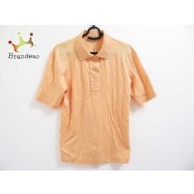 レリアン Leilian 半袖ポロシャツ サイズ7 S レディース 美品 オレンジ ラインストーン/刺繍   スペシャル特価 20190818
