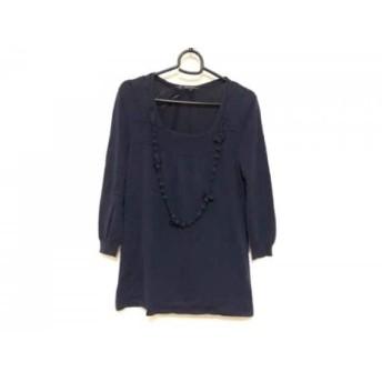 【中古】 ニジュウサンク 23区 七分袖セーター サイズ40 M レディース ネイビー ネックレス取り外し可