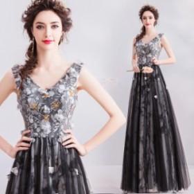 【ANGEL】ノースリーブ花柄チュールフラワービーズ背中編上げAラインロングドレス【送料無料】高品質 ブラック 黒 ロングドレス パー