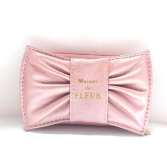 【中古】 メゾンドフルール 小物入れ ピンク リボン/アクセサリーポーチ/ラウンドファスナー 合皮