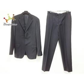 ボナジョルナータ シングルスーツ サイズL メンズ 黒 シングル/肩パッド/ストライプ   スペシャル特価 20190716