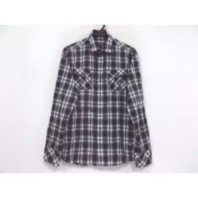 【中古】 バーバリーブラックレーベル 長袖シャツ サイズ2 M メンズ 黒 白 ライトグレー チェック柄