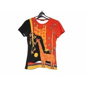 【中古】 マッシュマニア 半袖Tシャツ レディース 91362-00-2 オレンジ イエロー 黒 キリン柄