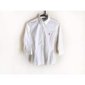 【中古】 ラルフローレン RalphLauren 七分袖シャツブラウス サイズ160 レディース 白 レッド 子供服