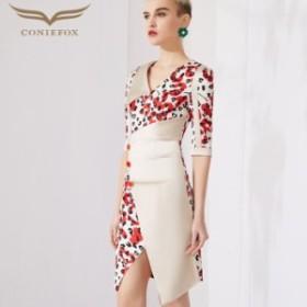 【CONIEFOX】高品質★ヒョウ柄スリット五分袖付きタイトラインミニドレス♪ベージュ 生成 レッド 赤 ワンピース ミディアムドレス