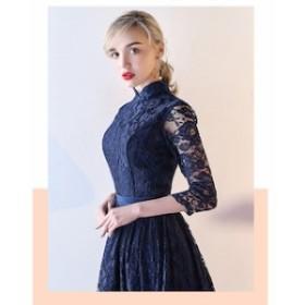 パーティドレス 二次会 結婚式 ドレス お呼ばれ ワンピース 20代 30代 40代 ワンピース 袖あり 大きいサイズ ハイネック ワンピース結婚