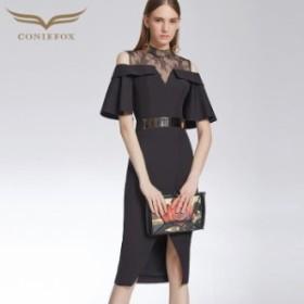 【CONIEFOX】高品質★スタンドカラー肌透けレースフリルベルト五分袖付きスリットタイトライン膝丈ドレス♪ブラック 黒 ワンピース ミ