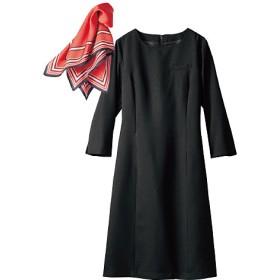 【レディース】 ワンピース(スカーフ付き)(洗濯機OK) - セシール ■カラー:ブラック ■サイズ:11AR,7AR,13AR,15ABR,17ABR,9AR,21ABR,19ABR